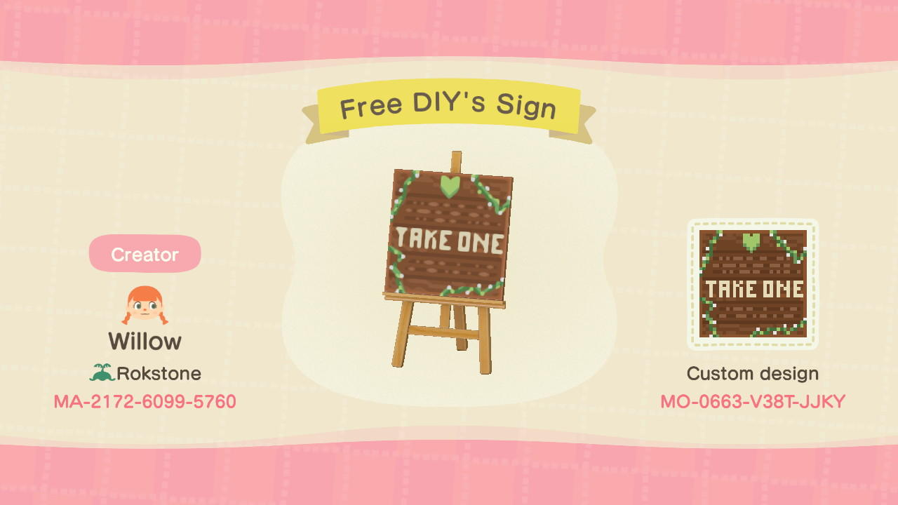 Free-DIY's Sign  - Animal Crossing: New Horizons Custom Design