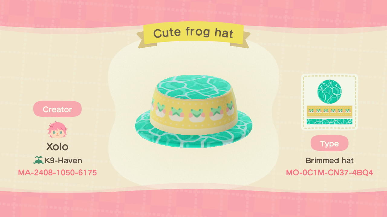 Cute frog hat - Animal Crossing: New Horizons Custom Design
