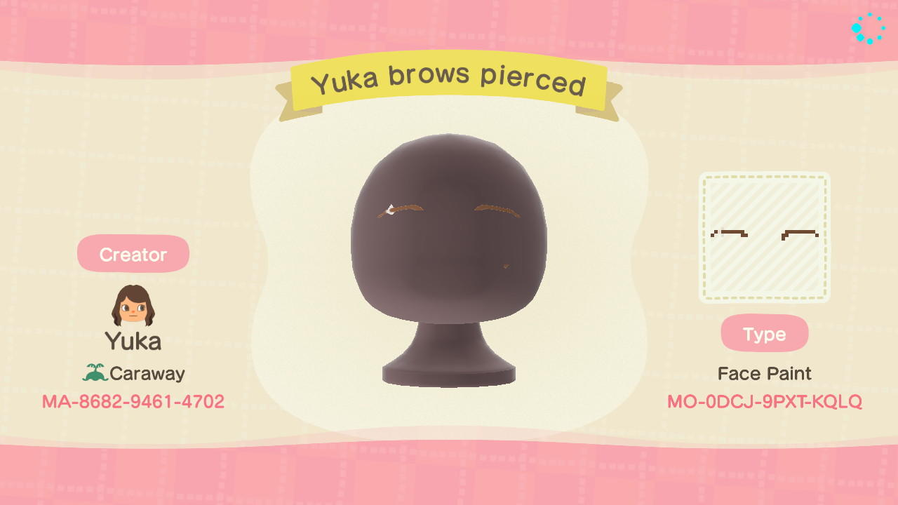 Yuka Brows Pierced - Animal Crossing: New Horizons Custom Design