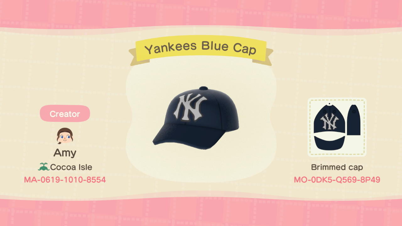 Yankees Blue Cap - Animal Crossing: New Horizons Custom Design