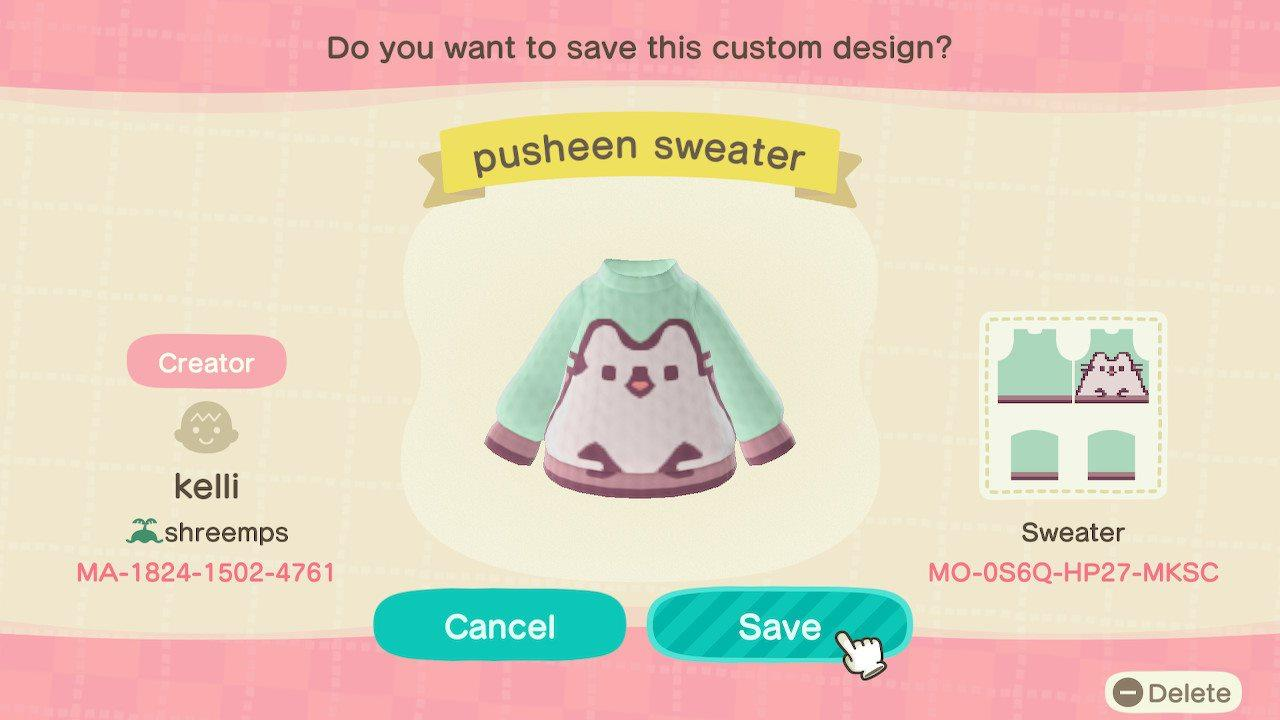 pusheen sweater - Animal Crossing: New Horizons Custom Design