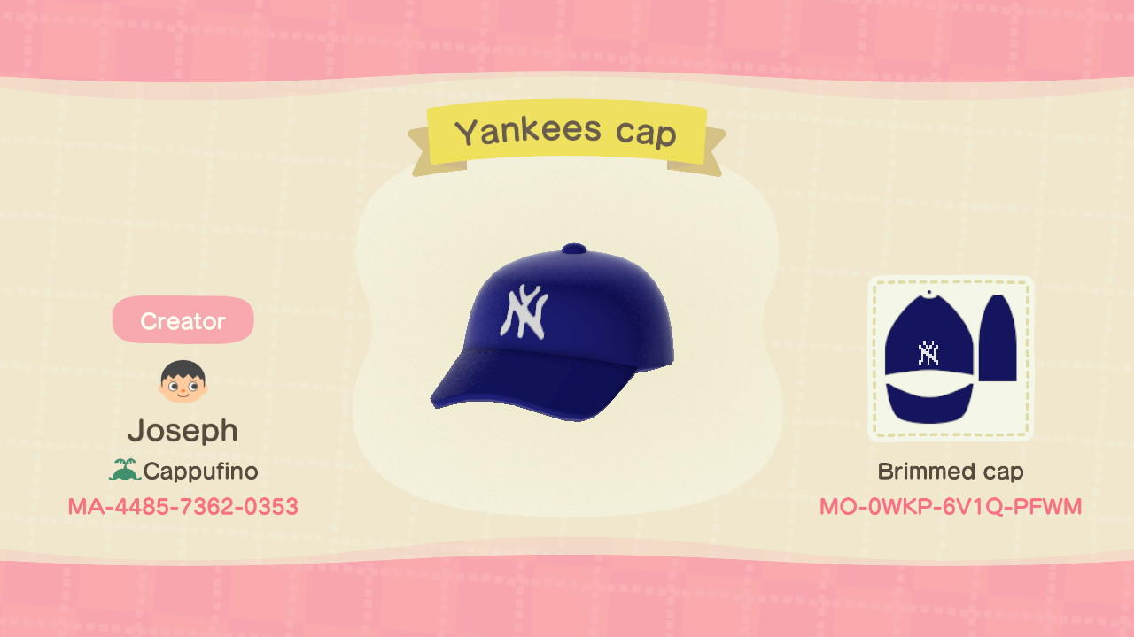 New York Yankees Cap - Animal Crossing: New Horizons Custom Design