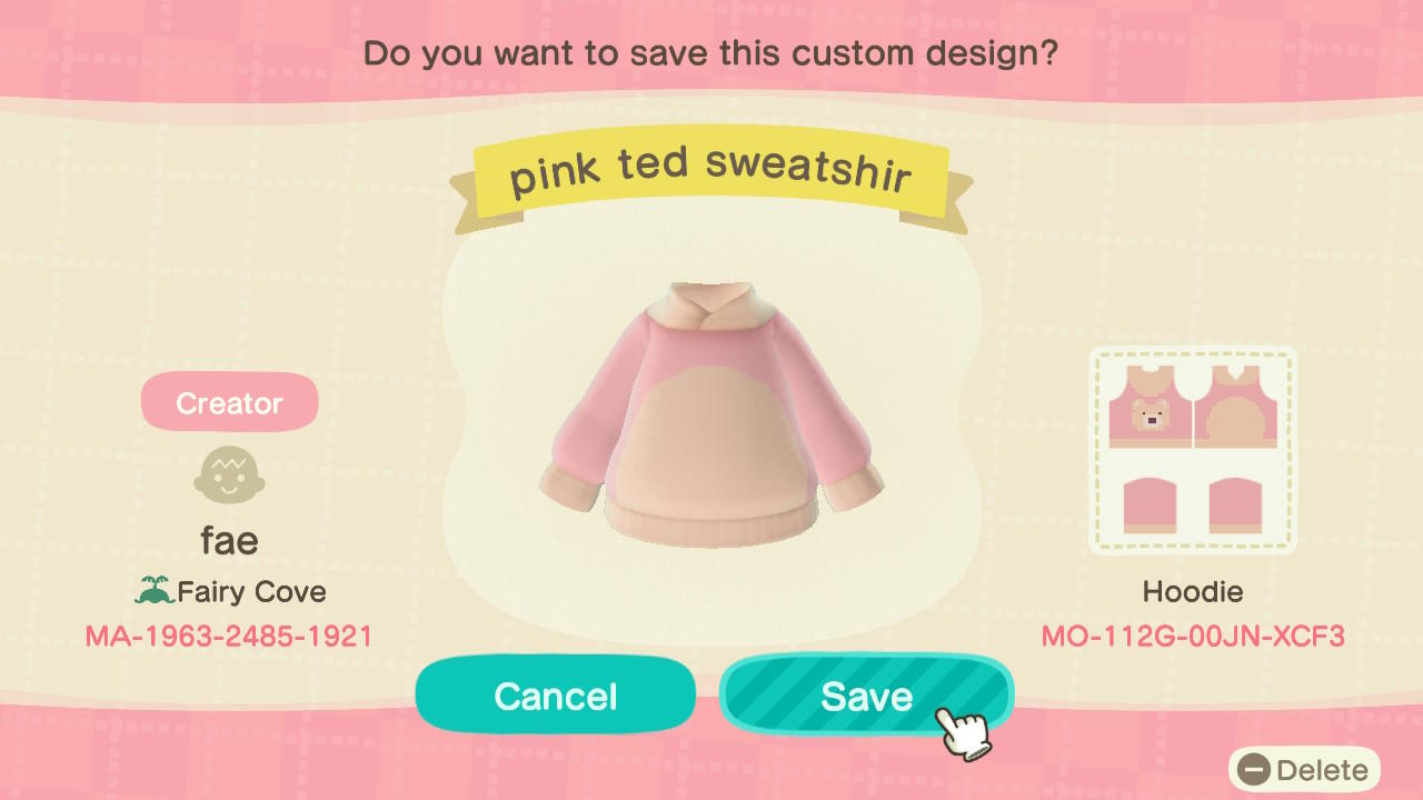 Pink Ted Sweatshirt - Animal Crossing: New Horizons Custom Design