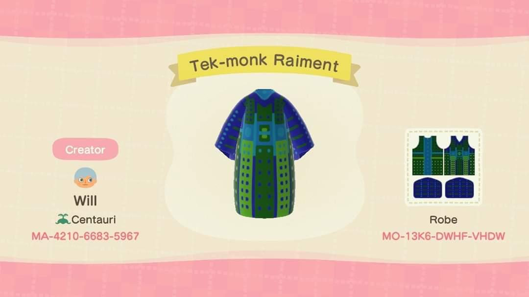 Tek-monk Raiment  - Animal Crossing: New Horizons Custom Design