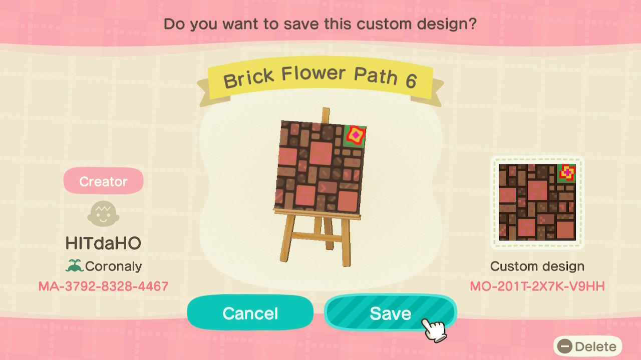 Brick Flower Path 6 - Animal Crossing: New Horizons Custom Design