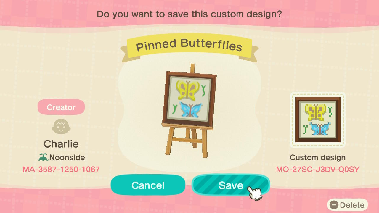 Pinned Butterflies - Animal Crossing: New Horizons Custom Design