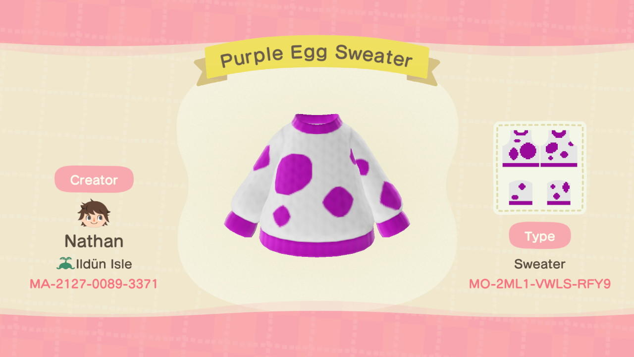 Purple Egg Sweater - Animal Crossing: New Horizons Custom Design
