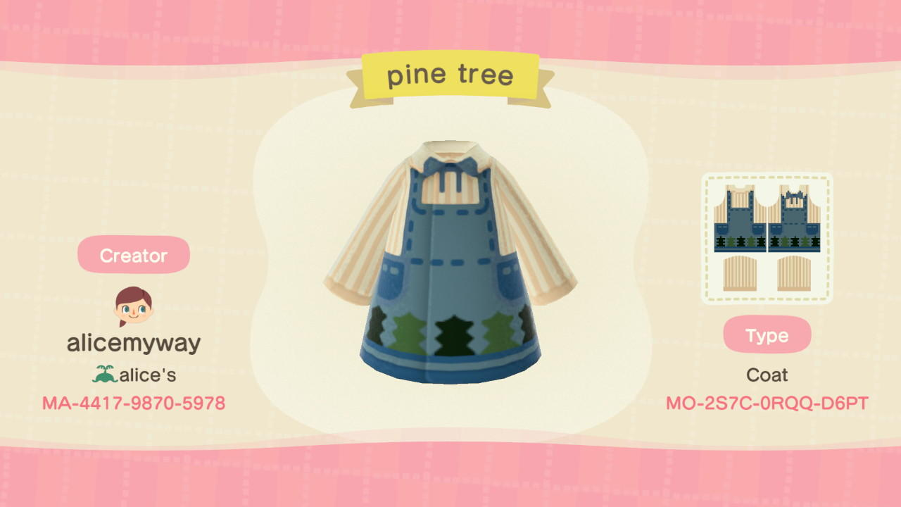 Pinetree denim apron - Animal Crossing: New Horizons Custom Design