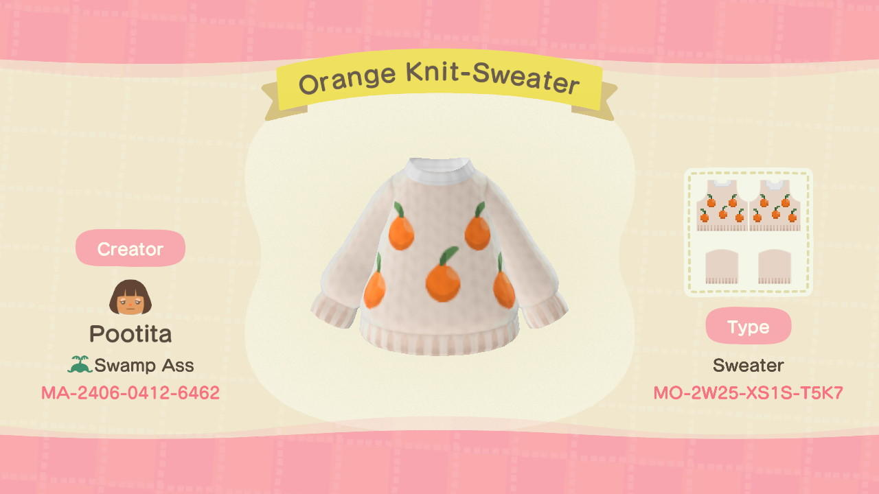 Orange Knit-Sweater - Animal Crossing: New Horizons Custom Design