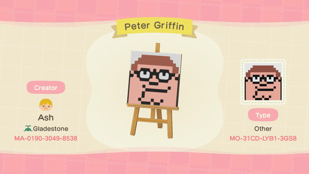 Peter Griffin - Animal Crossing: New Horizons Custom Design