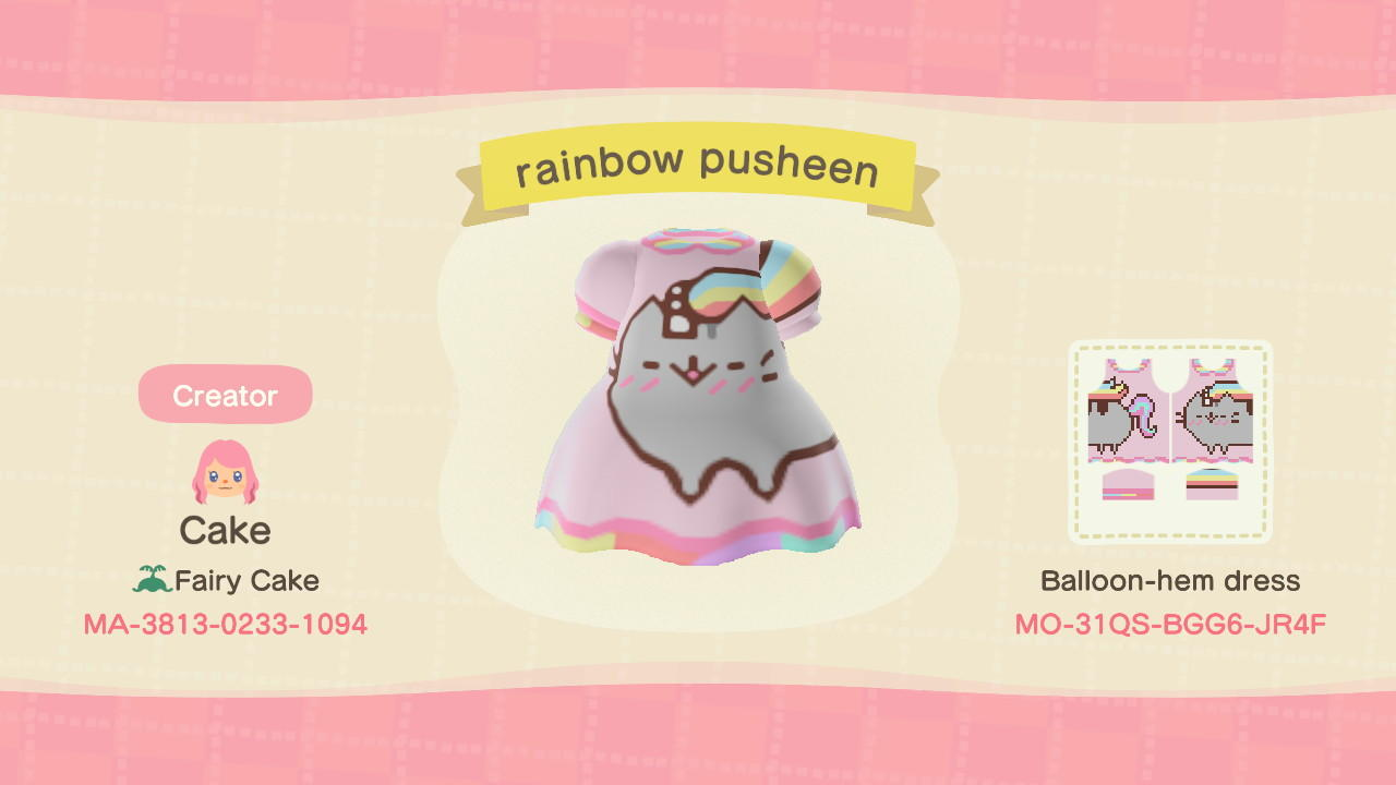 rainbow pusheen - Animal Crossing: New Horizons Custom Design