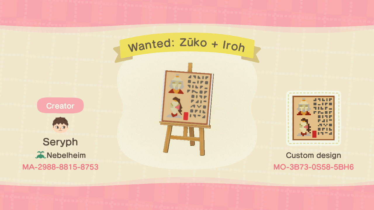 Wanted: Zuko + Iroh - Animal Crossing: New Horizons Custom Design