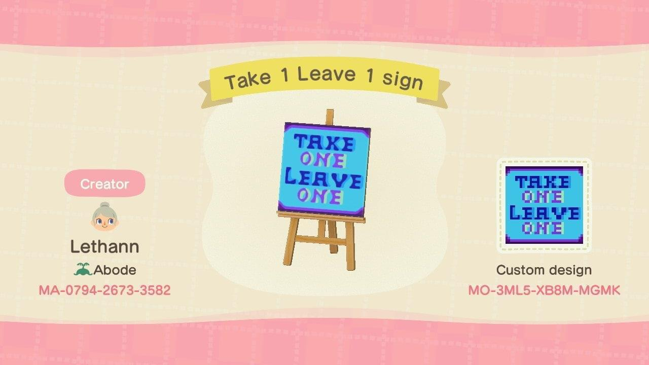 Take 1 Leave 1 sign - Animal Crossing: New Horizons Custom Design