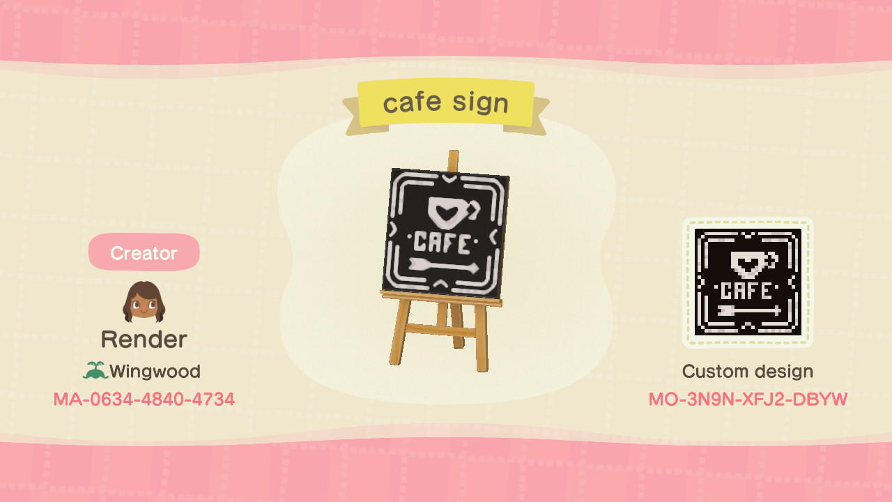 Cafe Sign - Animal Crossing: New Horizons Custom Design