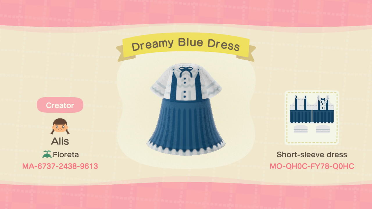Dreamy Blue Dress - Animal Crossing: New Horizons Custom Design
