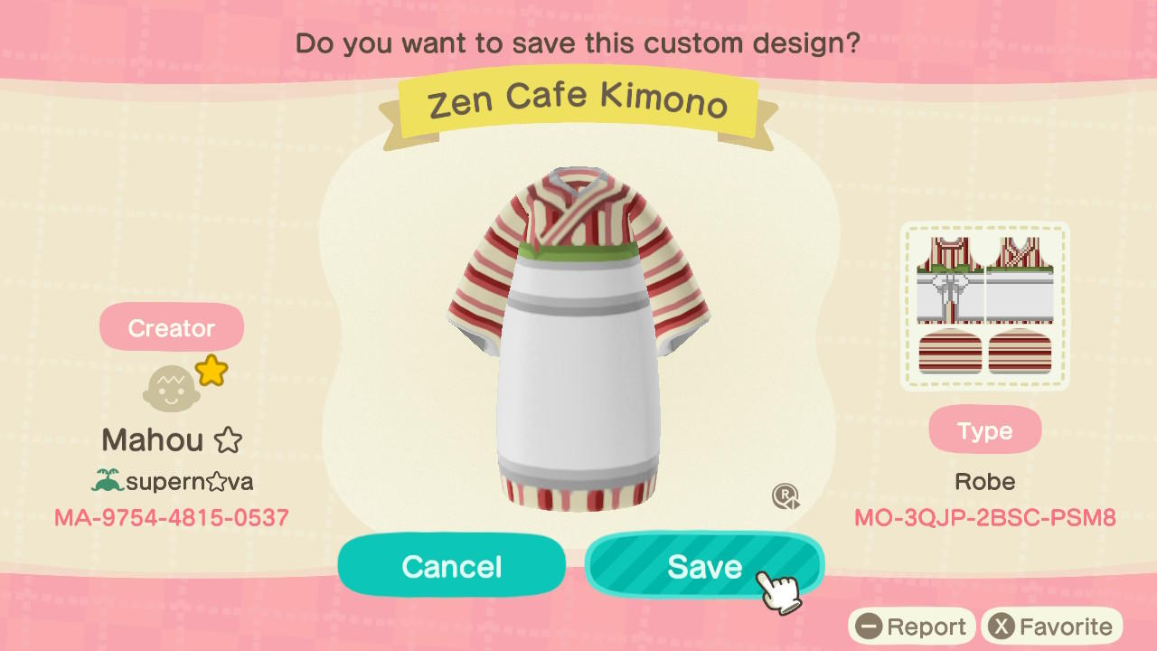 Zen Cafe Kimono - Animal Crossing: New Horizons Custom Design