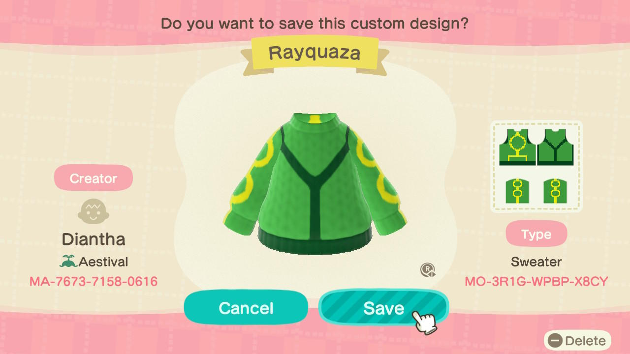 Rayquaza Sweater - Animal Crossing: New Horizons Custom Design