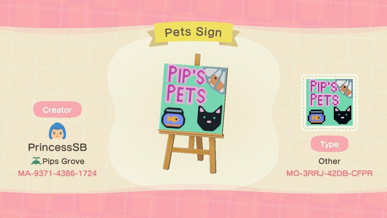 Pet Store Sign - Animal Crossing: New Horizons Custom Design