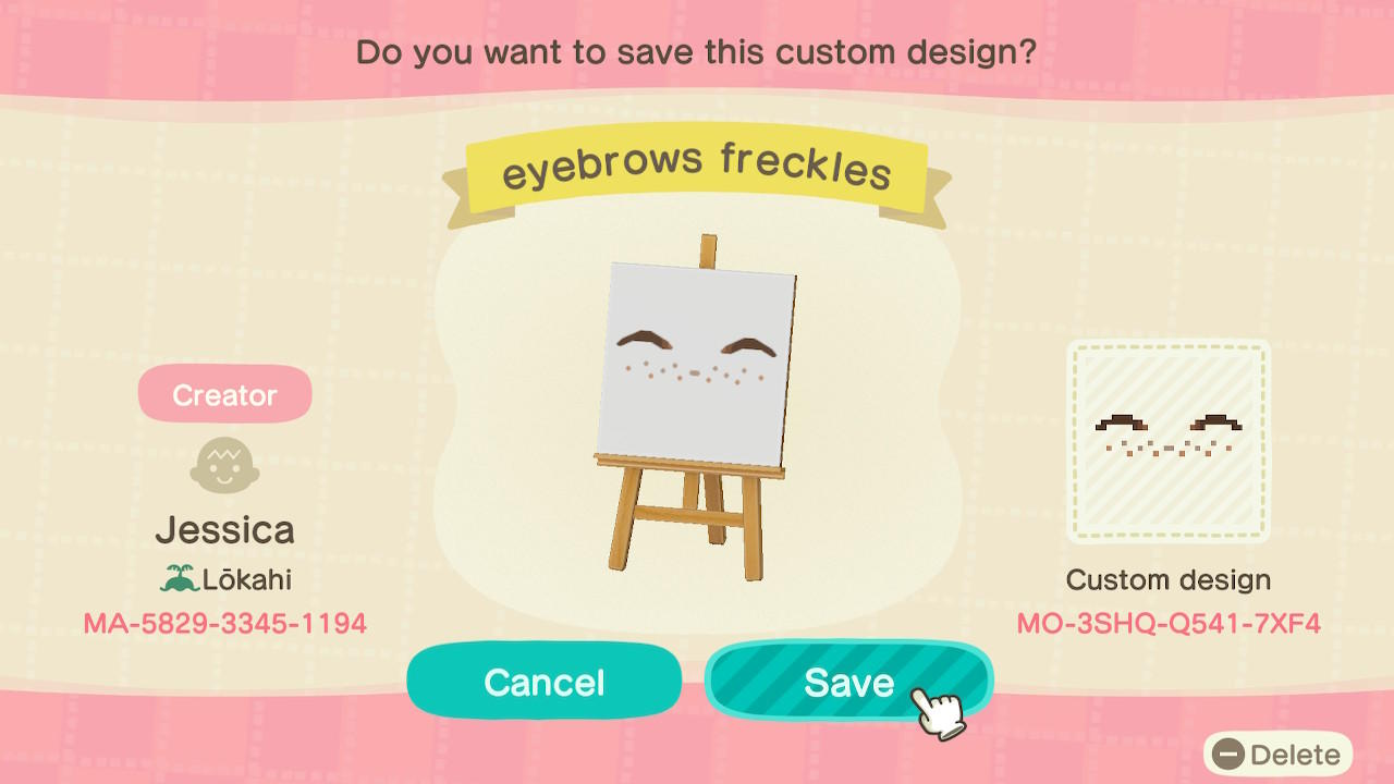 eyebrows freckles - Animal Crossing: New Horizons Custom Design