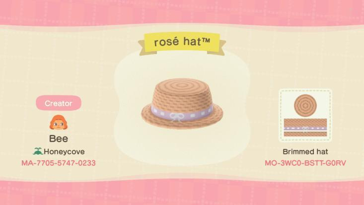 rosé hat - Animal Crossing: New Horizons Custom Design