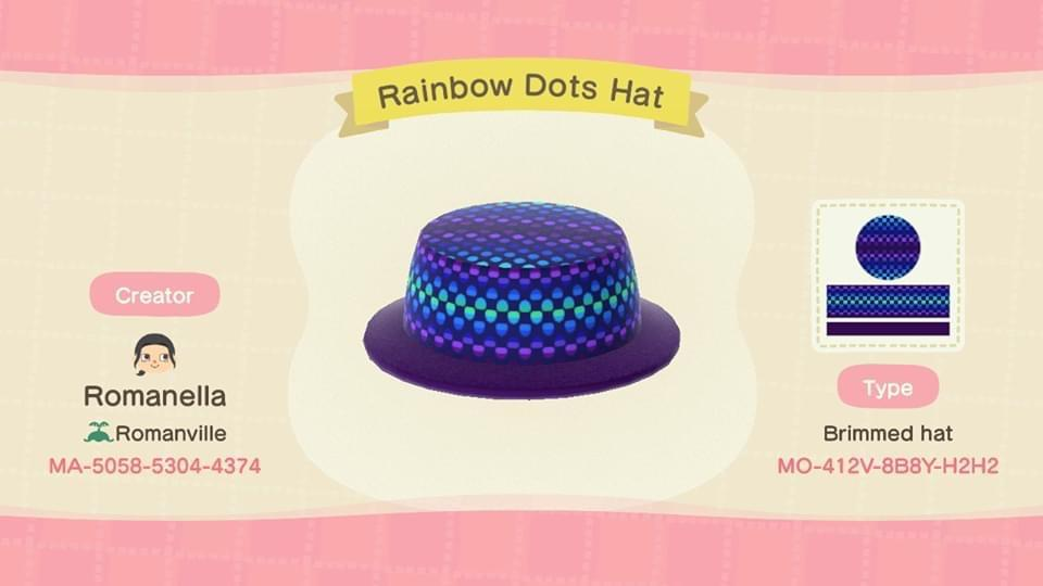 Rainbow Dots Hat - Animal Crossing: New Horizons Custom Design