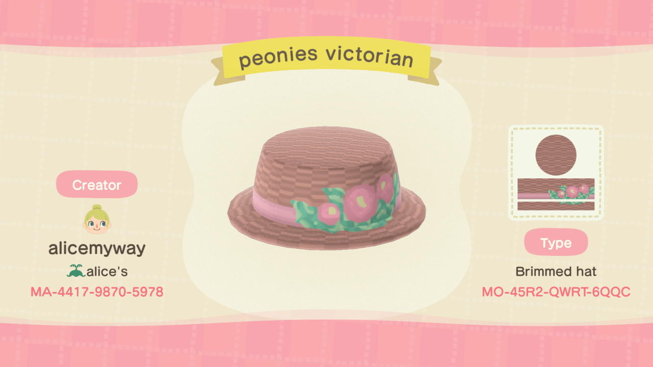 Peonies Hat - Animal Crossing: New Horizons Custom Design