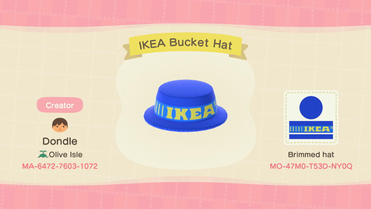 Ikea Bucket Hat Animal Crossing New Horizons Custom Design Nook S Island