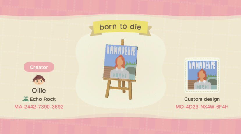 Lana Del Rey Born  - Animal Crossing: New Horizons Custom Design