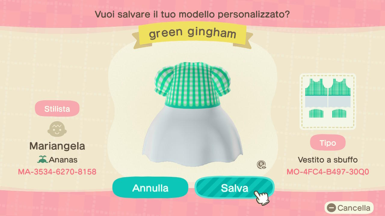 Green gingham dress - Animal Crossing: New Horizons Custom Design