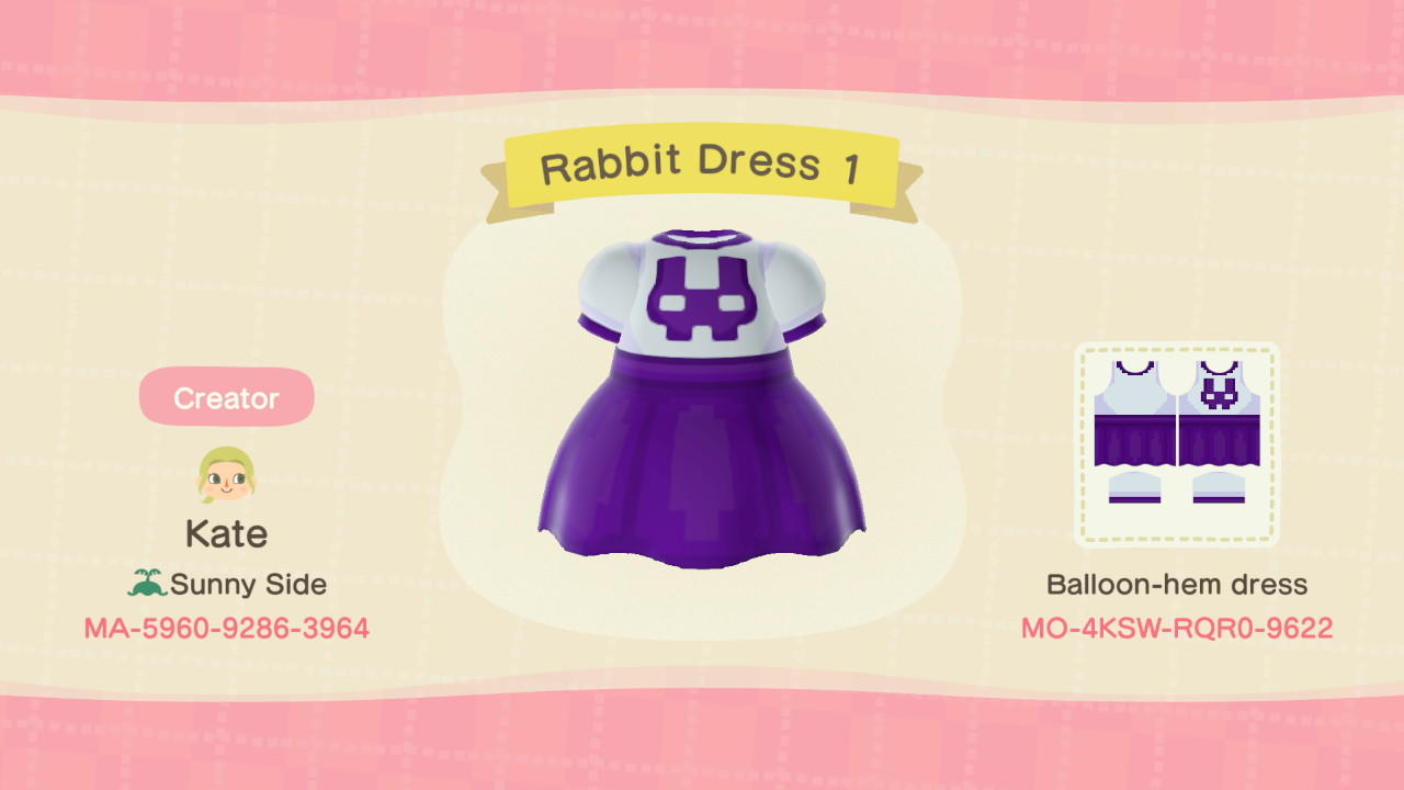 Rabbit Dress 1 - Animal Crossing: New Horizons Custom Design