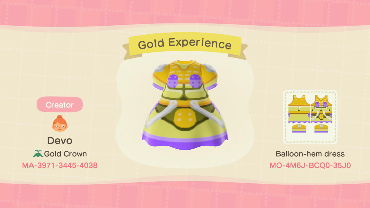 Gold Experience - Animal Crossing: New Horizons Custom Design