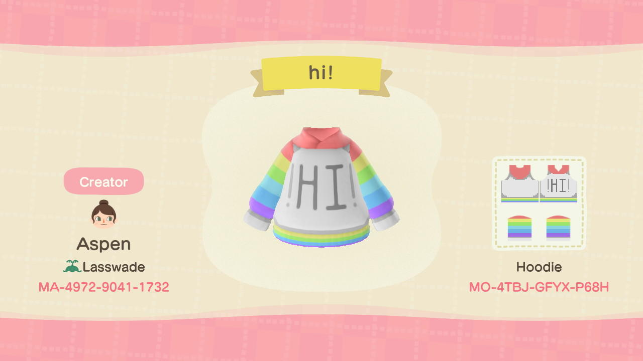 Rainbow Hi Hoodie - Animal Crossing: New Horizons Custom Design