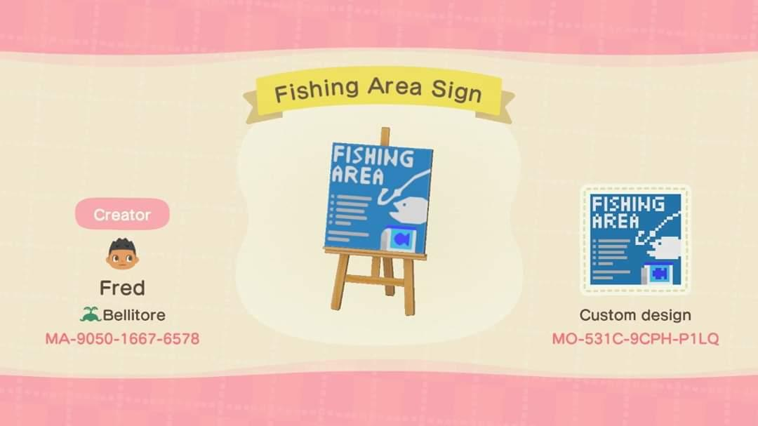 Fishing area sign - Animal Crossing: New Horizons Custom Design
