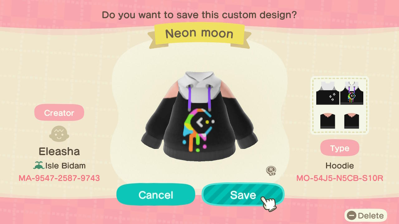 Neon moon - Animal Crossing: New Horizons Custom Design