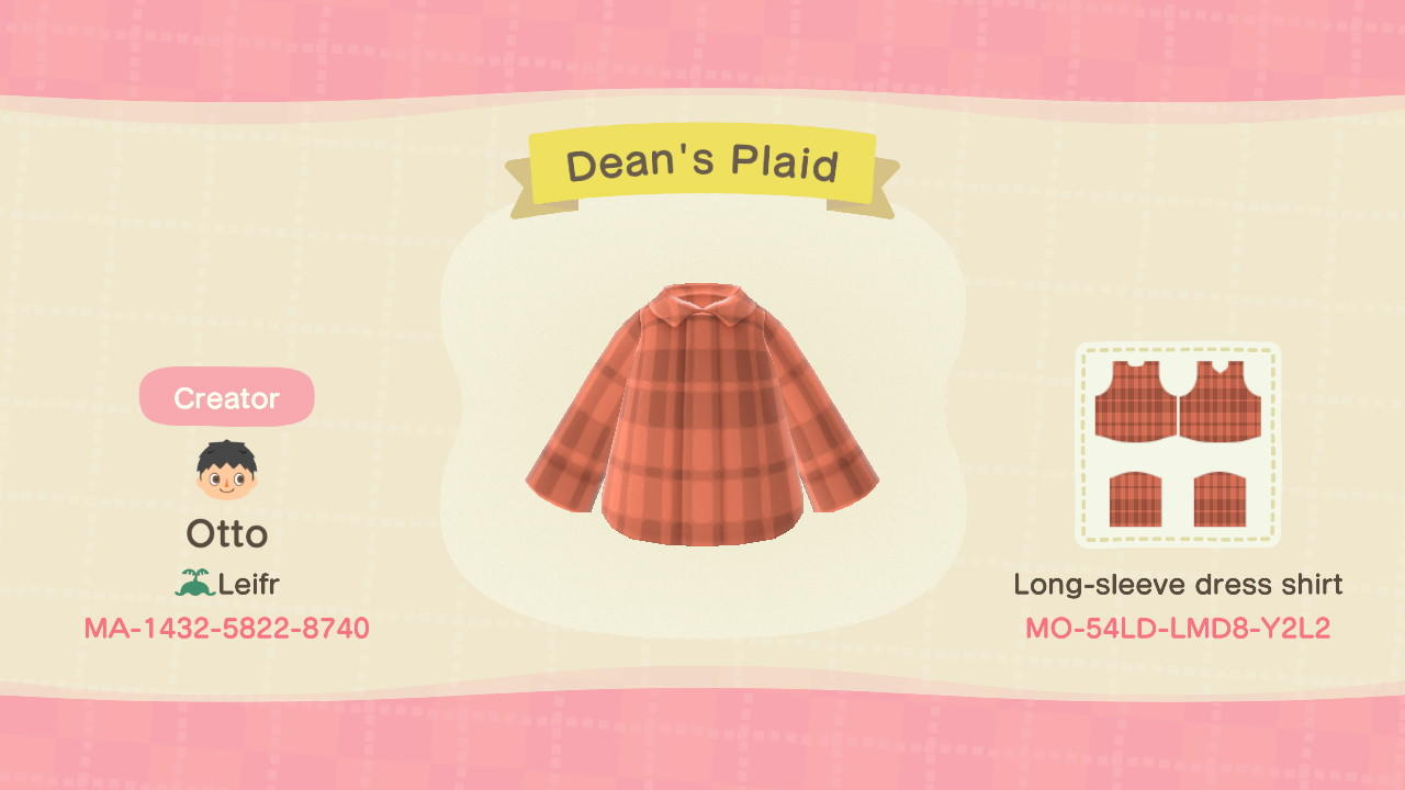 Dean's Plaid - Animal Crossing: New Horizons Custom Design