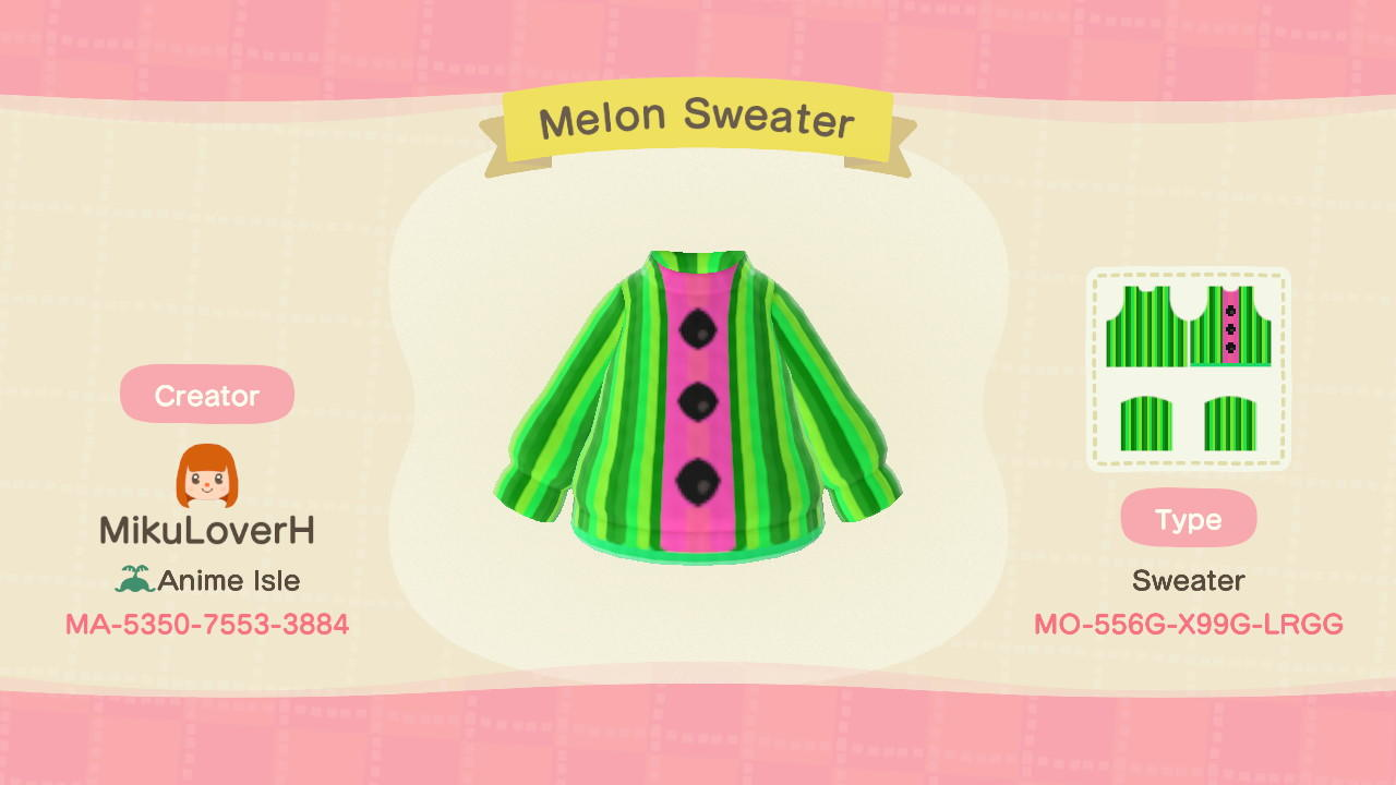 Melon Sweater  - Animal Crossing: New Horizons Custom Design