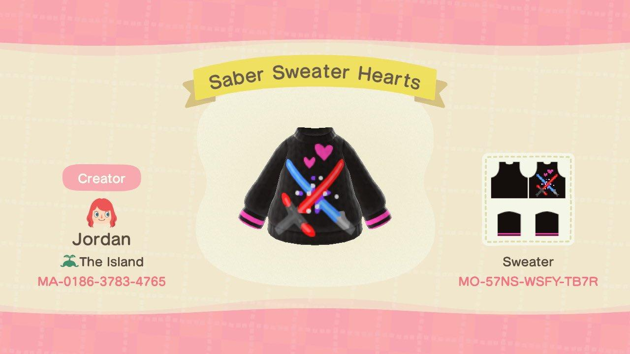 Saber Sweater Hearts - Animal Crossing: New Horizons Custom Design