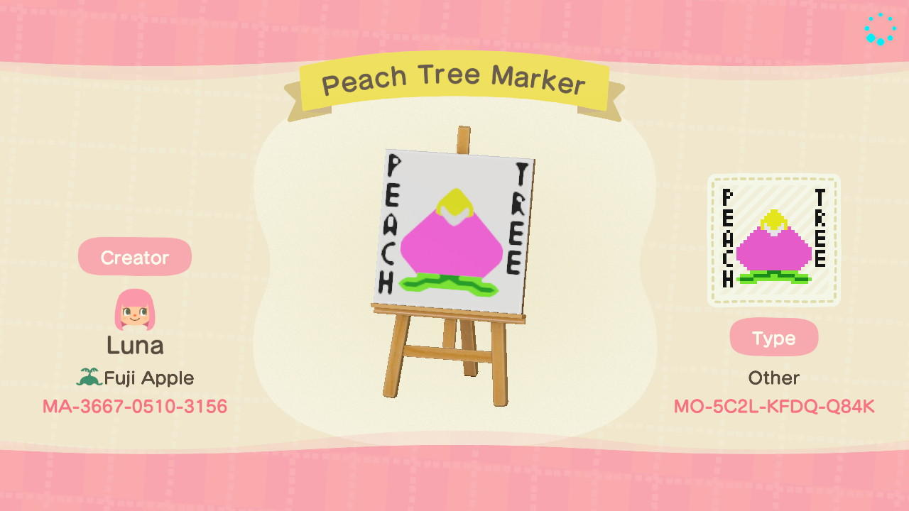 Peach Tree Marker - Animal Crossing: New Horizons Custom Design