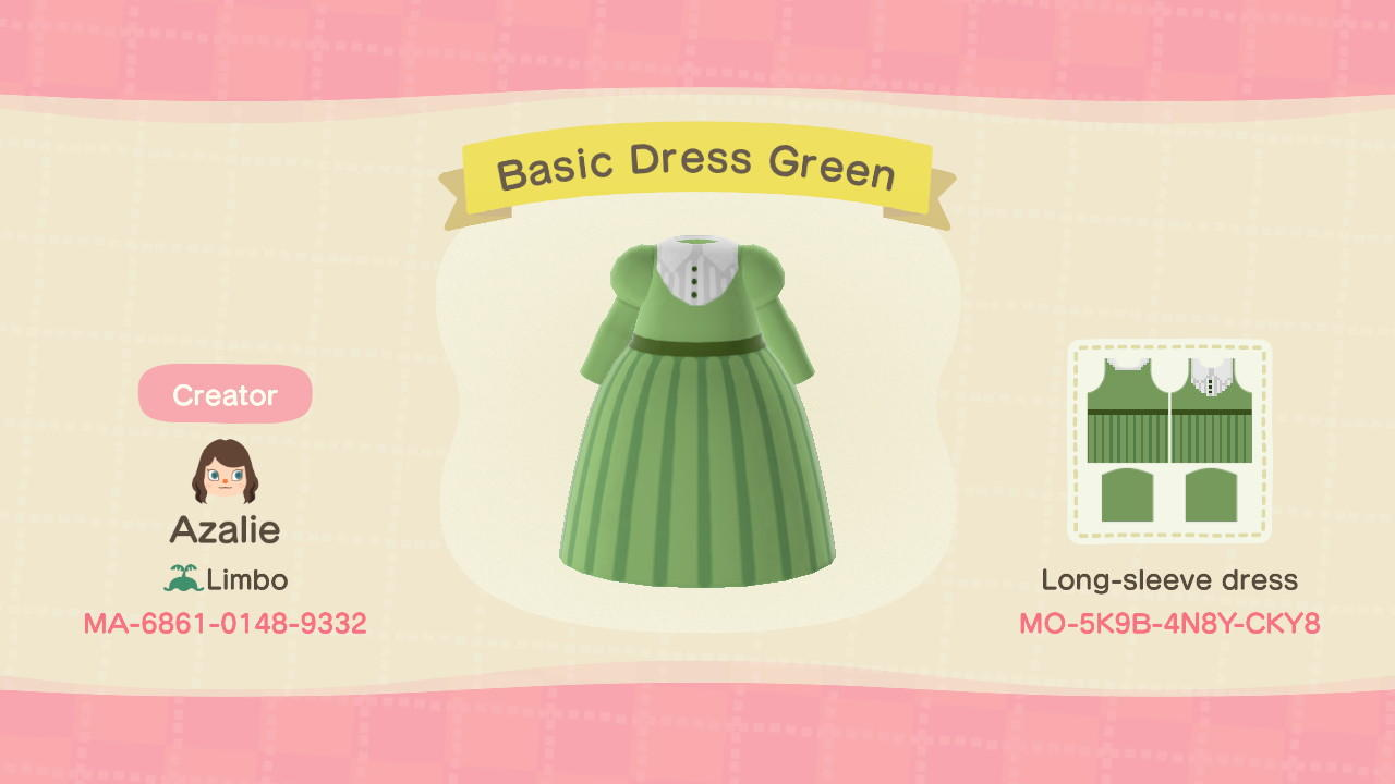 Basic Dress Green - Animal Crossing: New Horizons Custom Design