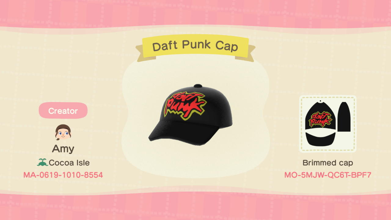 Daft Punk Cap - Animal Crossing: New Horizons Custom Design