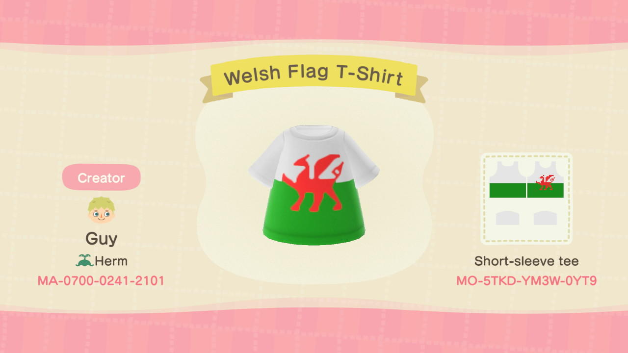 Welsh Flag T-Shirt - Animal Crossing: New Horizons Custom Design