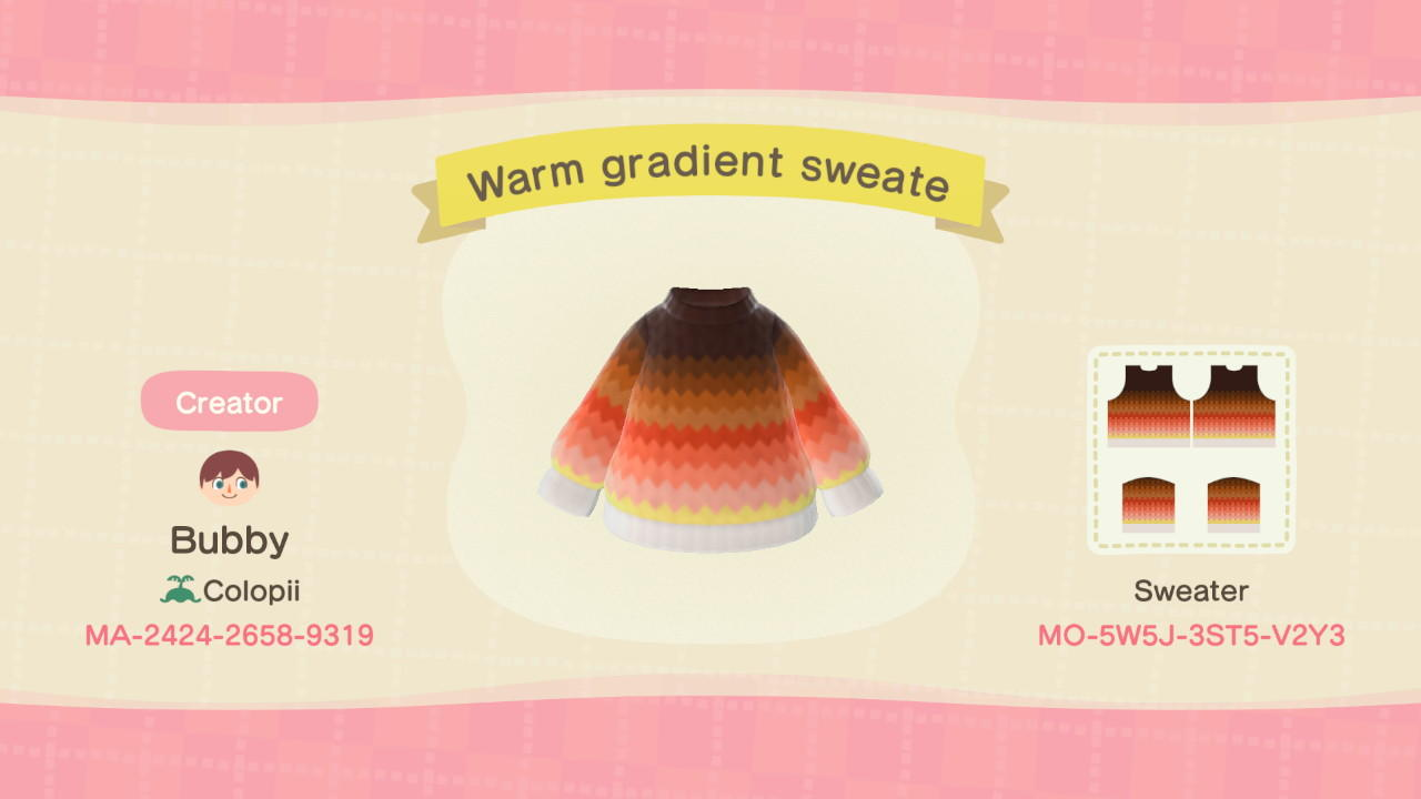 Warm-gradient sweate - Animal Crossing: New Horizons Custom Design