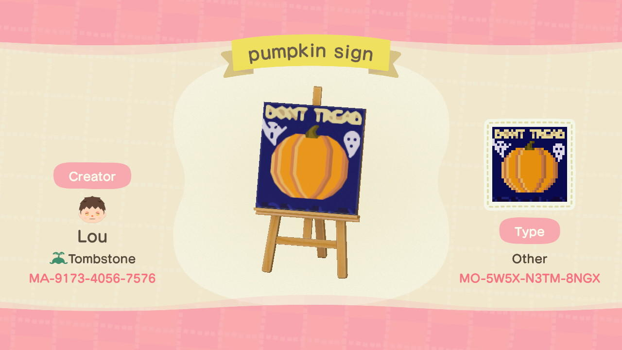 pumpkin sign - Animal Crossing: New Horizons Custom Design