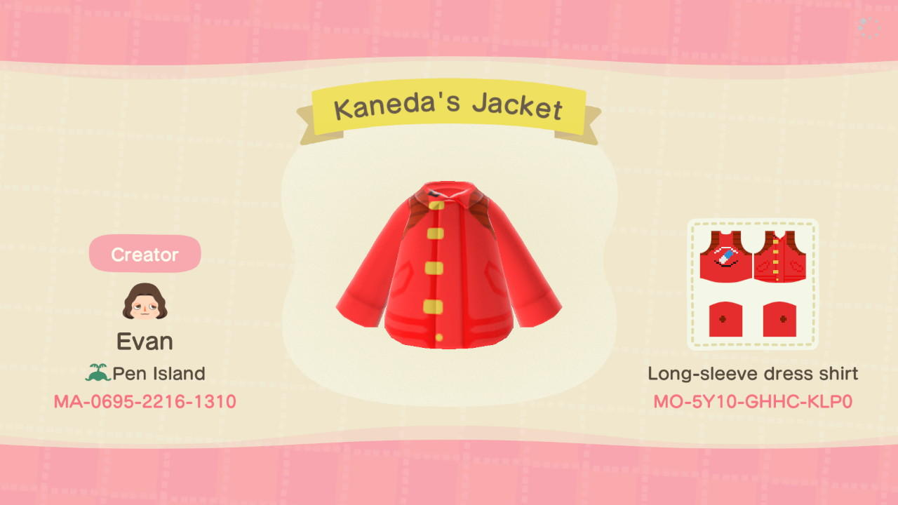 Kaneda's Jacket - Animal Crossing: New Horizons Custom Design