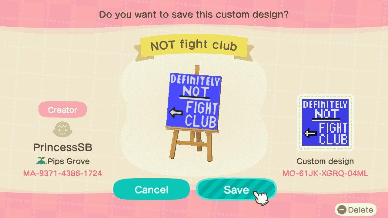 Not Fight Club Sign - Animal Crossing: New Horizons Custom Design