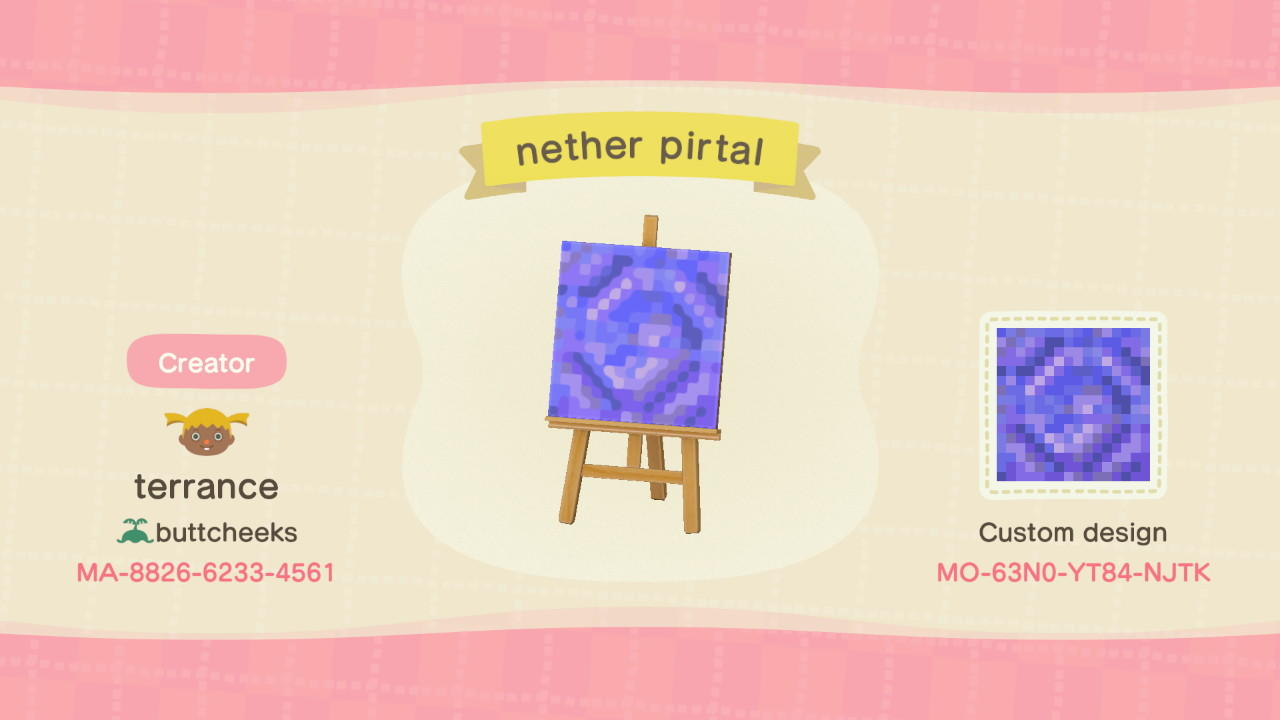 nether portal frame - Animal Crossing: New Horizons Custom Design