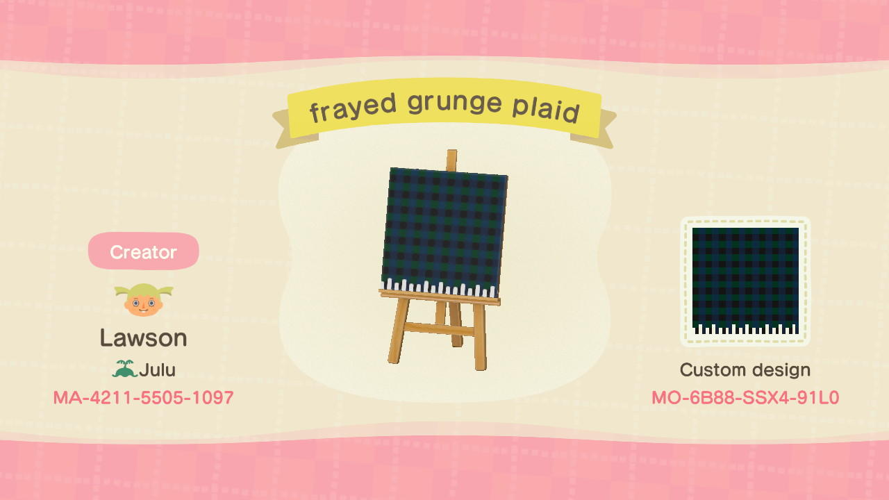frayed grunge plaid - Animal Crossing: New Horizons Custom Design