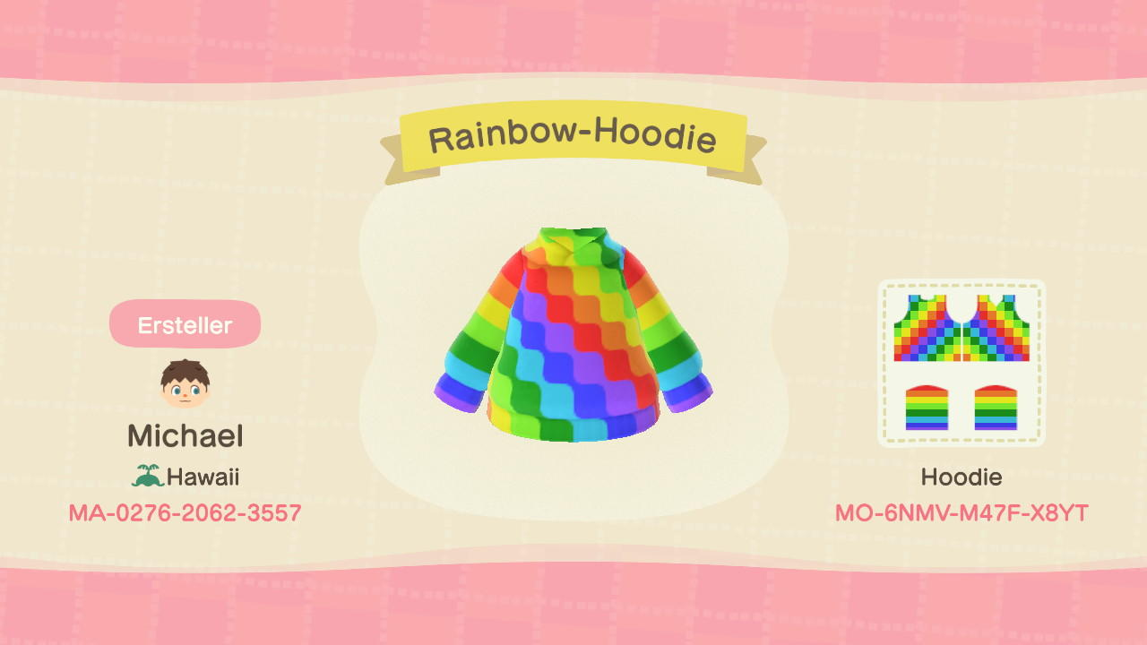 Rainbow-Hoodie - Animal Crossing: New Horizons Custom Design