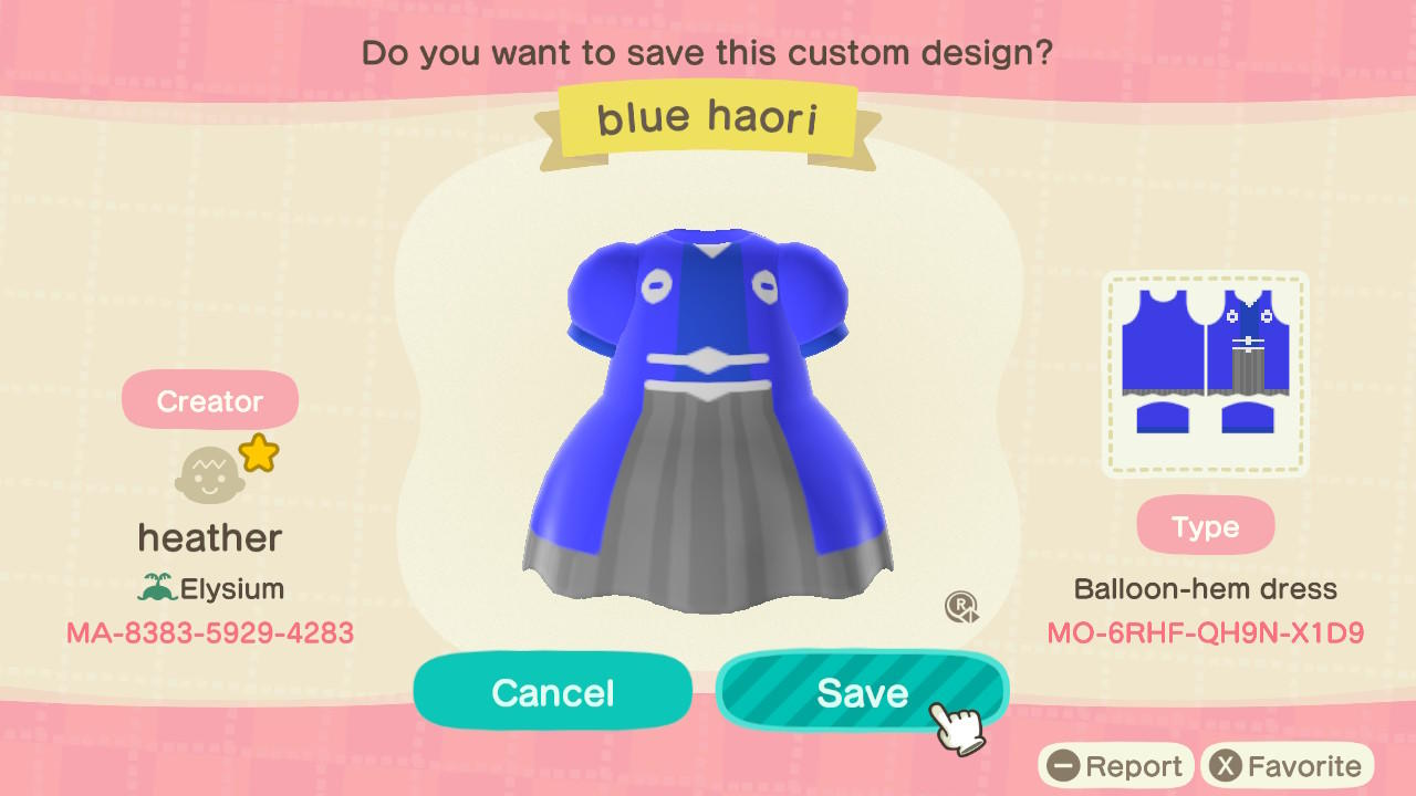 blue haori - Animal Crossing: New Horizons Custom Design