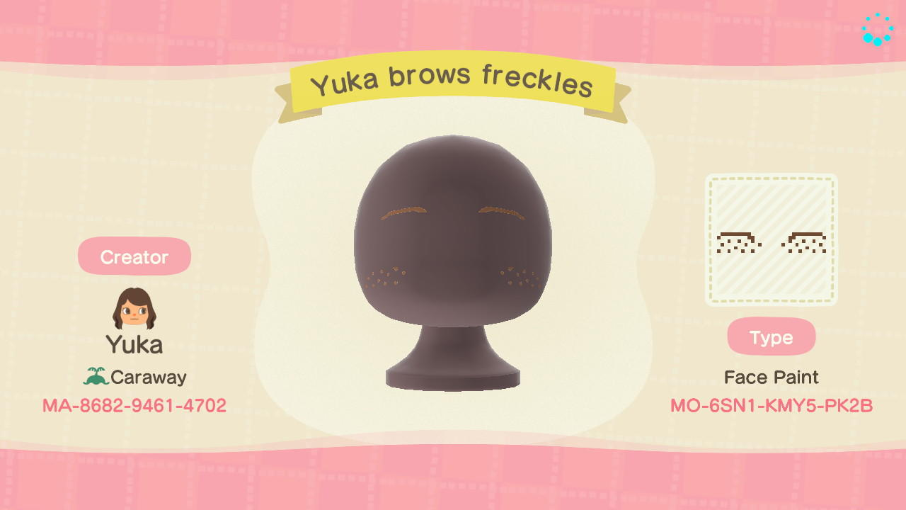 Yuka Brows Freckles - Animal Crossing: New Horizons Custom Design